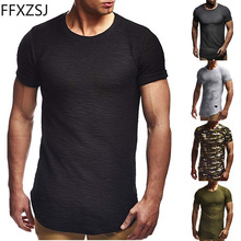 FFXZSJ Brand 2019 summer Mens fashion T-shirt European code new round neck solid color leather short-sleeved