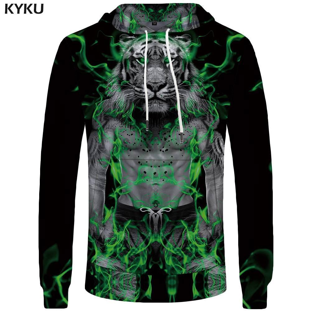 KYKU Tiger Hoodies Men Beast Sweatshirt Green Pocket Flame Mens Clothing Animal Sweatshirts Big Size Hoddie Tracksuit