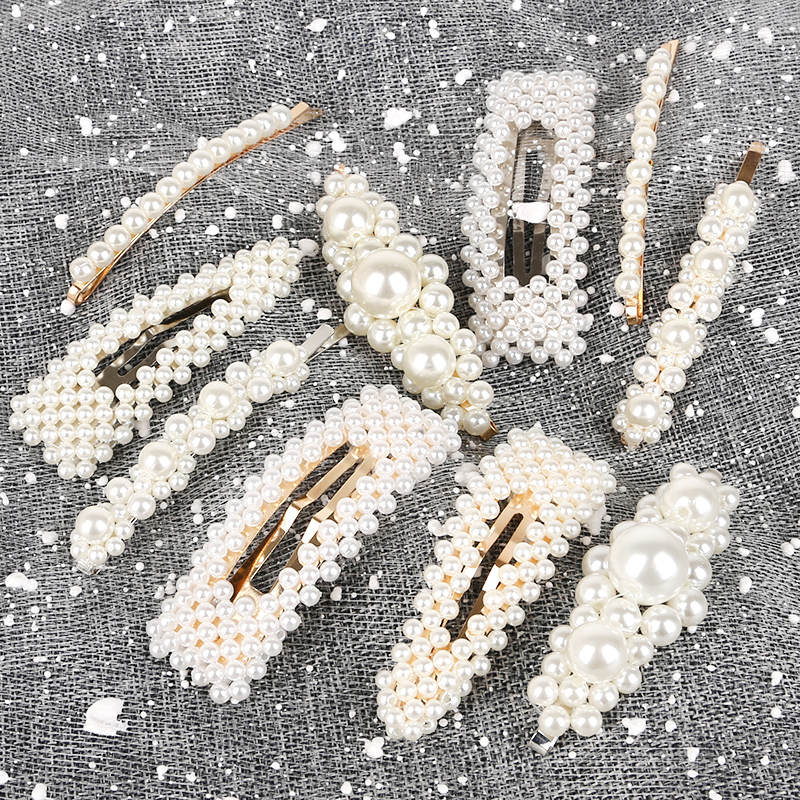 2019 New Fashion Women 1pc Pearl Hair Clip Snap Hair Barrette Stick Hairpin Hair Styling Accessories For Women Girl Dropshipping