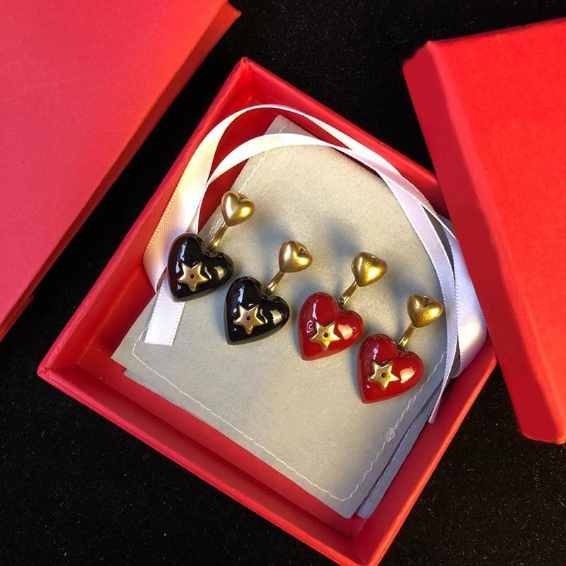 Hot-selling copper ornaments delicate fashion enamel oil red black heart-shaped star double earringsHot-selling copper ornaments delicate fashion enamel oil red black heart-shaped star double earrings