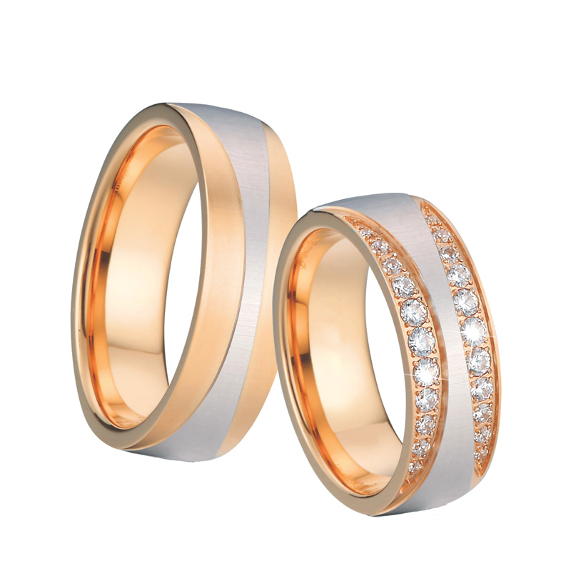 Men Wedding Band Anniversary Rings anillos anel bague bijoux femme Rose Gold color Couple Engagement Rings For Women