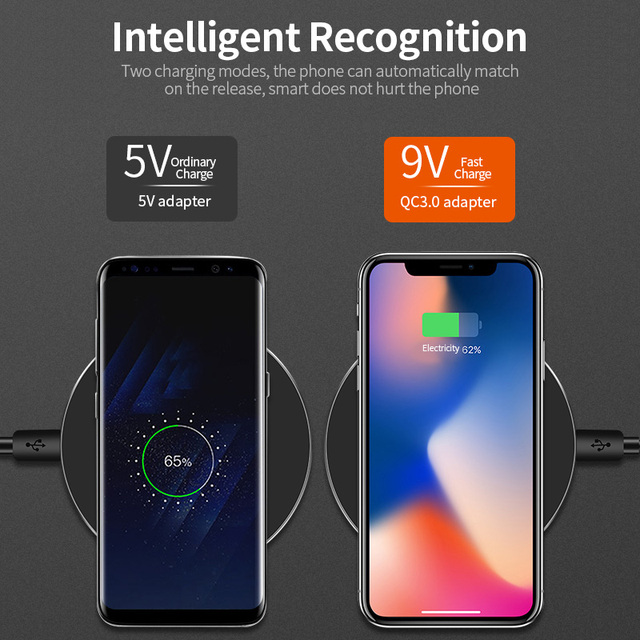 DCAE Qi Wireless Charger For iPhone 8 X XR XS Max QC3.0 10W Fast Wireless Charging for Samsung S9 S8 Note 9 S10 USB Charger Pad 3