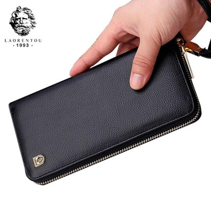 LAORENTOU Men Wallets Genuine Leather Large Capacity Zipper Wallet Men's Purse Long Wallet Bifold Wallet Clutch with Wristlet