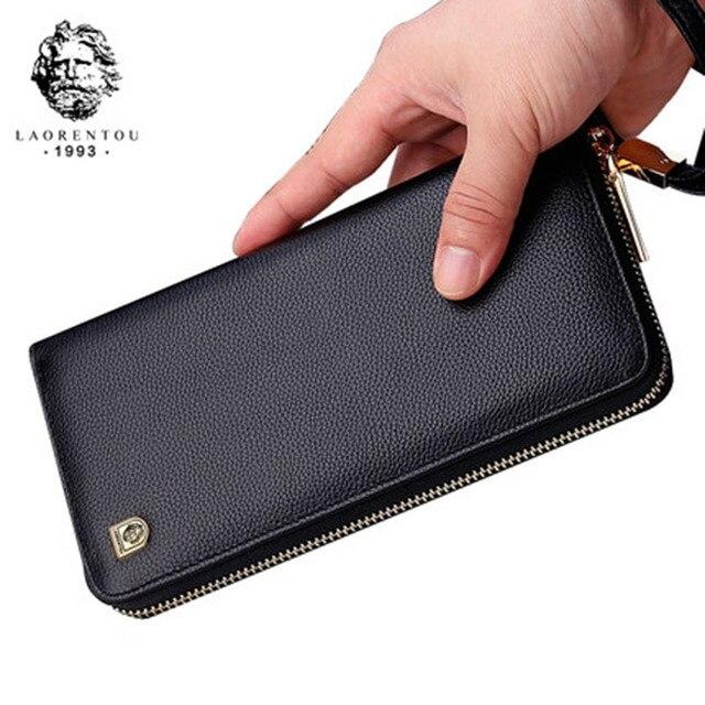 f86e6623ad14 LAORENTOU Men Wallets Genuine Leather Large Capacity Zipper Wallet Men s  Purse Long Wallet Bifold Wallet Clutch with Wristlet