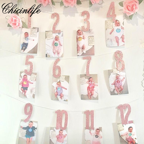 Chicinlife Number 1 12 Months Photo Banner Garland Signs Banner