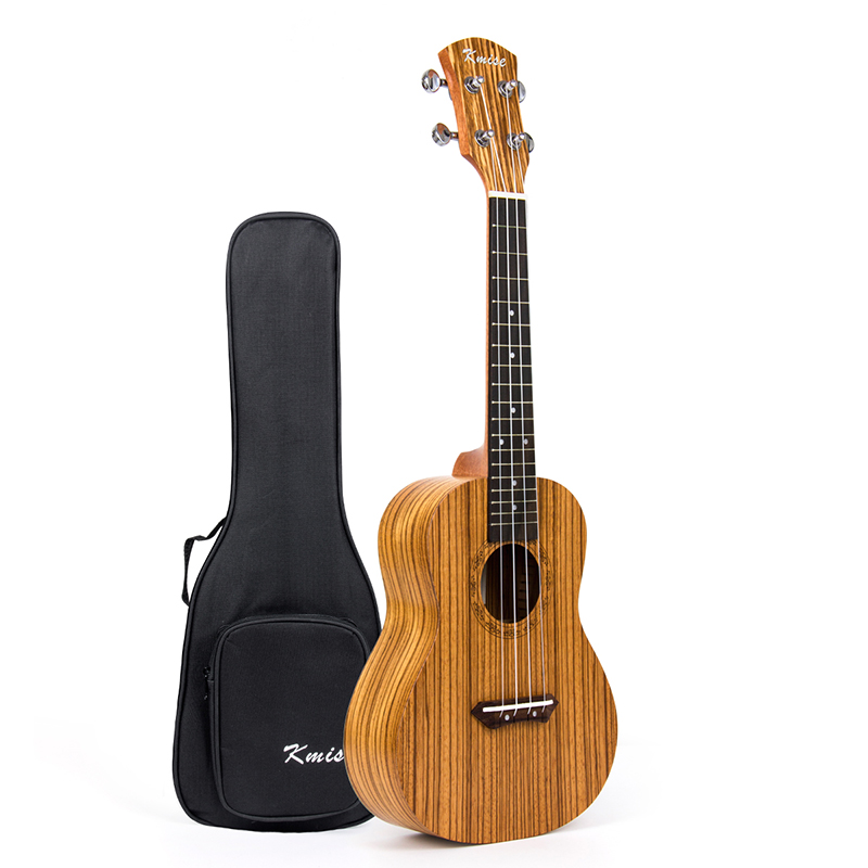 Kmise Concert Ukulele Ukelele Uke Zebrawood 23 inch 4 String Hawaii Guitar with Gig Bag