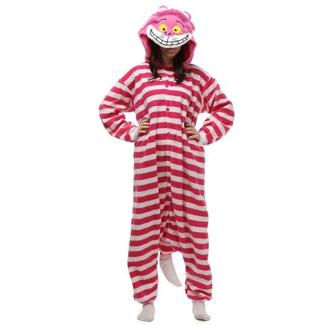 polar fleece kigurumi cheshire cat costume cartoon onesie pajama halloween carnival masquerade party christmas jumpsuit clothing