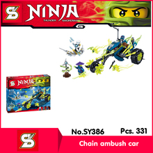 SY SY386 331Pcs Ninja Series The Chain Ambush Car Model Building Blocks Bricks Set Toys with Children Toys compatible
