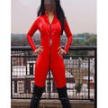 PVC Bodysuit Women Faux Red Leather Catsuit Wet Look Punk Fetish Erotic Lingerie Sexy Jumpsuit Costumes Teddies DS Dance Suit