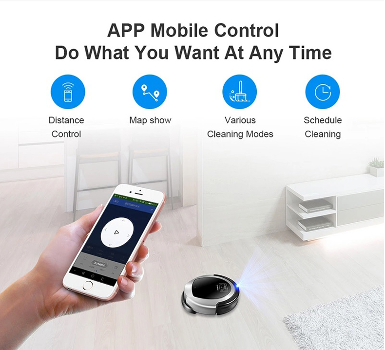Wet And Dry Robot Vacuum Cleaner B6009,Map navigation,3000Pa Suction, ,Smart Memory,Wifi APP, Water tank,Lithium battery