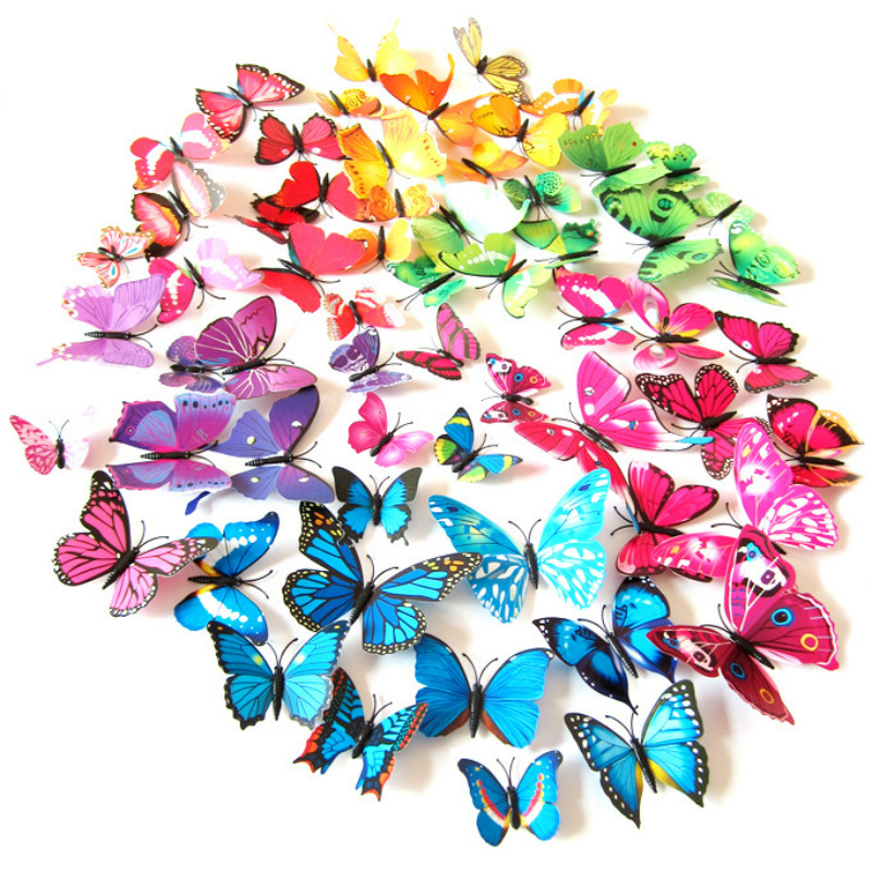 12Pcs PVC 3d Butterfly Wall Decor Wall Stickers for Home Decoration Wedding Living Room Wall Refrigerator Art Decals Drop Ship