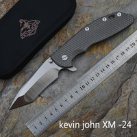 kevin john XM24outdoor Flipper Folding knife Titanium handle S35VN blade Tactical camping survival Knives EDC tools
