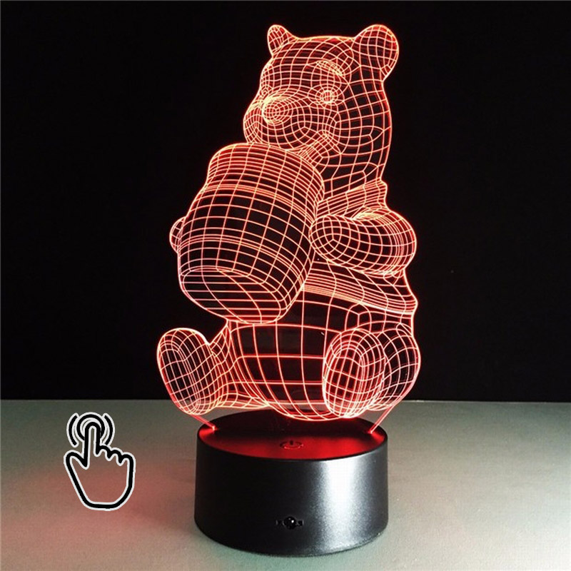 3D LED Winnie for Pooh Colorful Acrylic Night Light Touch Switches New three-dimensional Nightlight Mood Lamp for Kid table lam free shipping 1piece new arrive marvel anti hero deadpool figure light handmade 3d bulbing illusion lamp led mood light for kid