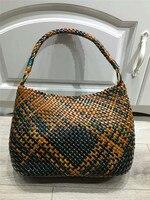 Bohemian Woven Leather Basket Bags for Girls Beach Bags Women Summer genuine leather Handmade Weave Handbag