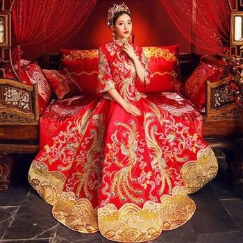d246f8ea3 Tradicional vestido de boda nueva novia china mujer Cheongsam mujeres  Phoenix bordado vestido moderno de Qipao rojo Oriental vestidos