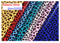 4 Blue High Quality Mirror PU Leather Fabric With Leopard Pattern For DIY Car Shoes Bags