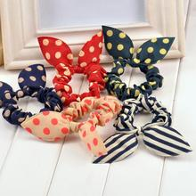 new 2016 original head flower hair accessories headdress korea trinkets rabbit ears fabric dot rubber band hair rope ring gift