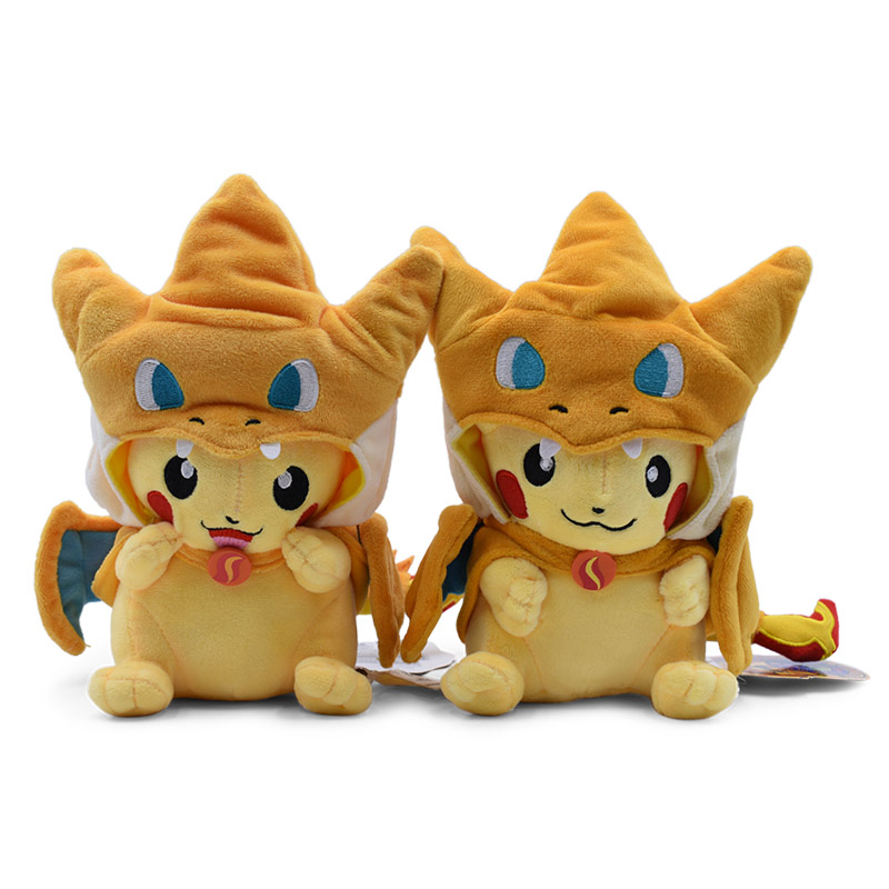 18-22cm Cartoon Pikachu Cosplay Charizard Plush Toys Anime Peluche Stuffed Baby Dolls Gift For Kids Free Shipping