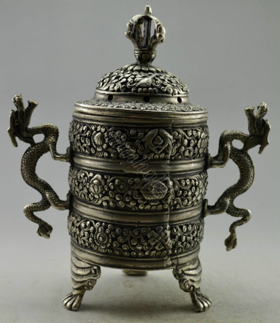 Exquisite Chinese Collectible Decorated Old Handwork Tibetan Silver Double Dragons Incense BurnerExquisite Chinese Collectible Decorated Old Handwork Tibetan Silver Double Dragons Incense Burner