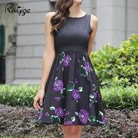 2017 ruiyige جميلة أكمام زائد حجم حزام تونك فستان مثير عارضة شاطئ عطلة خمر الأزهار الرجعية ارتفع 50 ثانية 70 ثانية جديدة اللباس