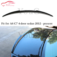 M4 type carbon fiber rear spoiler trunk wing for Audi A6 C7 4 door sedan saloon 2012 present A6 Spoiler tail boot car styling