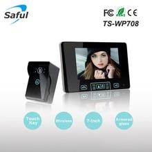 Saful TS-WP708 7 дюймов двусторонней видеодомофон видео домофон громкой связи Беспроводной домофон Системы с Беспроводной разблокировать Управление
