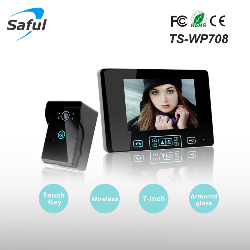 Saful TS-WP708 7 Polegada Two-way Speakerphone vídeo Porteiro Vídeo Porta telefone Sistema de Intercomunicação Sem Fio com Controle de desbloqueio Sem Fio