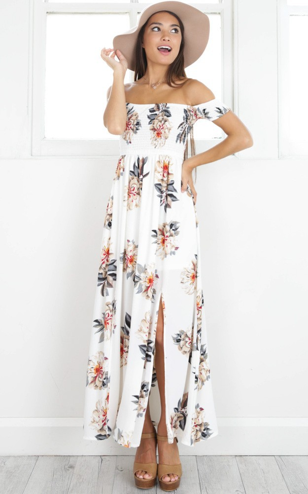 2017 NEW Boho style long dress women Off shoulder beach ...