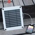 Elegeek 5 w 5 v painel solar portátil carregador usb moldura digital estilo ao ar livre carregador solar para iphone samsung android 5 v dispositivo