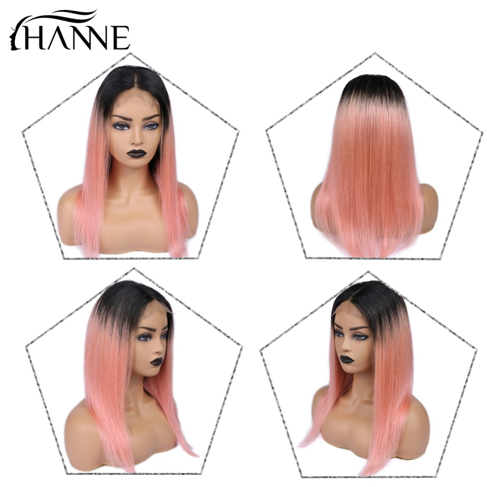 Brazilian 4*4 Lace Closure Wig 1B# Ombre Pink Straight Wigs Lace Closure Human Hair Wigs For Black Women 150% Density HANNE Hair