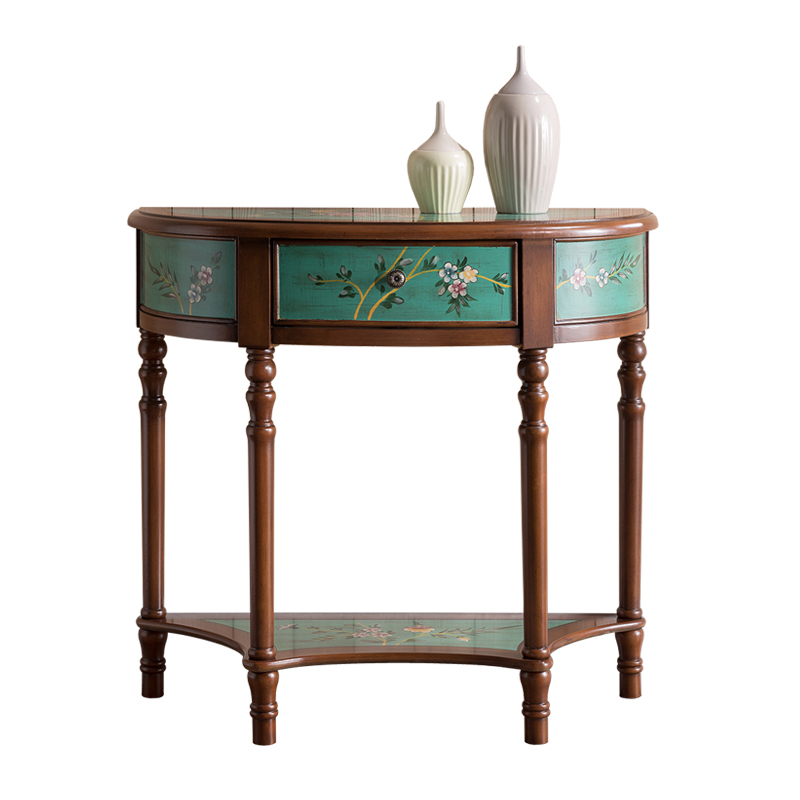 European made old porch table solid wood hand painted wall half round table American green hallway decorated table furniture