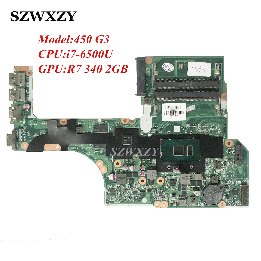 827026 001 For HP Probook 450 470 G3 Laptop Motherboard DA0X63MB6H1 827026 601 With i7 6500U