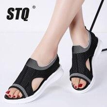 STQ Women Sandals 2020 Female Shoes Women Summer Wedge Comfort Sandals Ladies Flat Slingback Flat Sandals Women Sandalias 7739