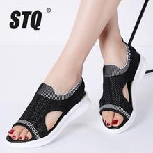 STQ sandales plates à dos compensé pour femmes, chaussures dété, babouches plates pour dames, collection 2020