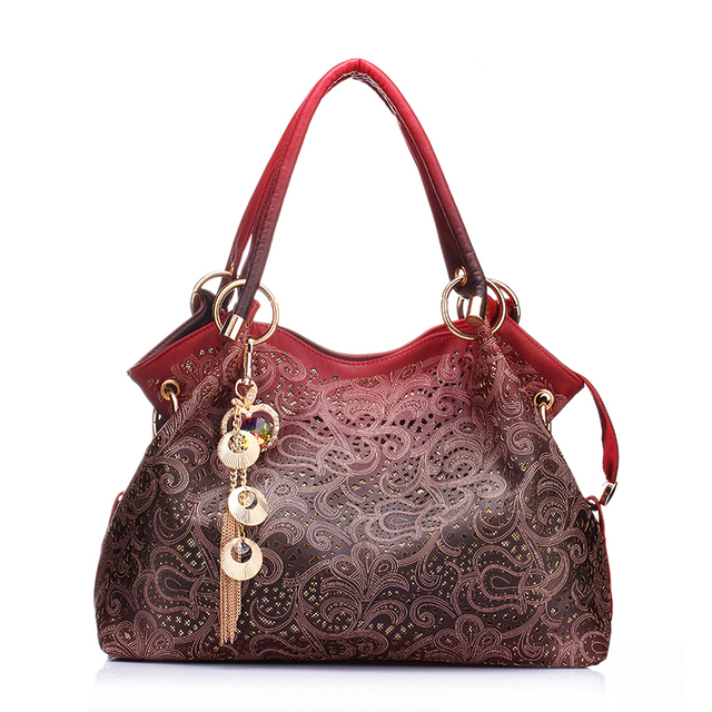 Brand designer PU leather handbag hollow out bags handbags female gradient tassel bag ladies shoulder bag red green purple pink