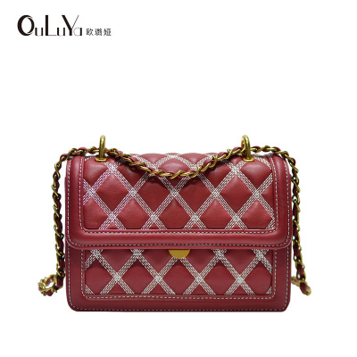 2018 autumn and winter new ladies trend soft leather rhombic chain bag shoulder Messenger bag2018 autumn and winter new ladies trend soft leather rhombic chain bag shoulder Messenger bag