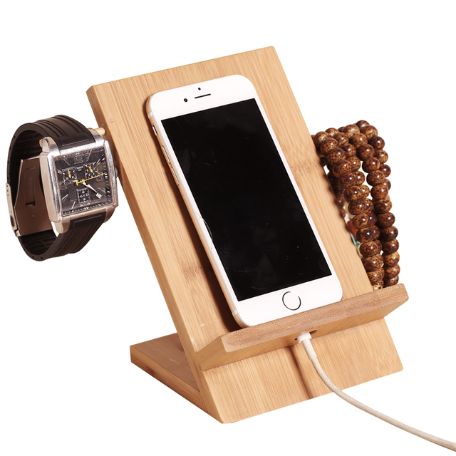 Bamboo Wood Charging Bracket Docking Station StockCradle Holder for iPhone 7/6s/6 Plus/Samsung