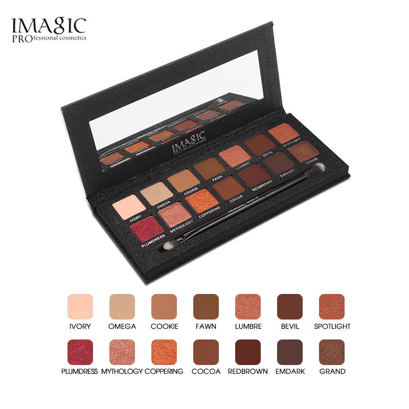 IMAGIC 14 Colors Eyes Shimmer Matte Eyeshadow Makeup Light Eye Shadow Palette Shades Eyeshadow Palette With Brush Cosmetics