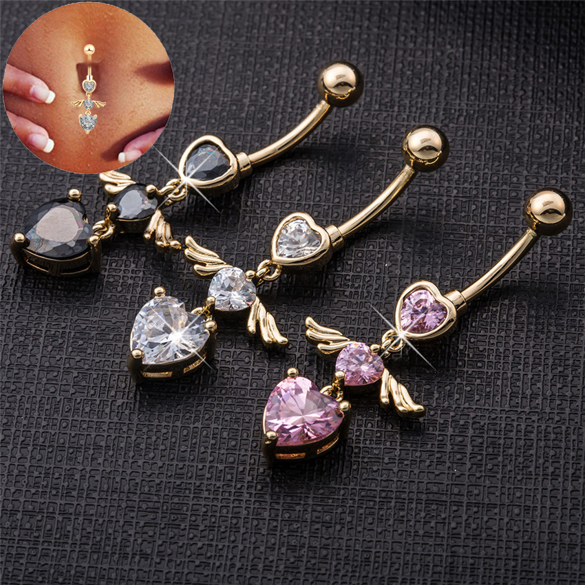 Gift Package Piercing Jewelry piercing tragus Body Fine Piercing Navel Belly Ring With Heart Clear Black Purple Cubic Zirconia