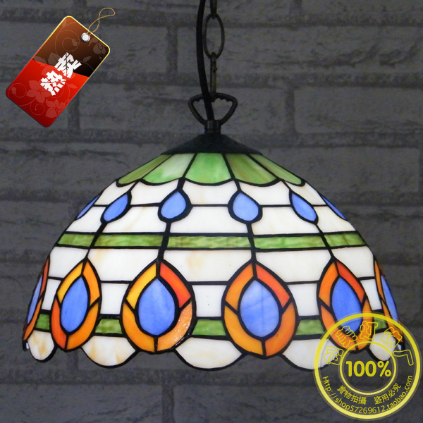 12-inch factory direct simple and stylish Chinese restaurant kitchen chandelier Tiffany glass lighting fixtures balcony garden 12 inch simple european style modern restaurant droplight tiffany glass lighting mahjong table mediterranean balcony lamp