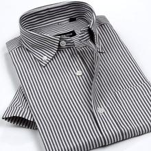 Новое поступление, мужские классические стильные нежелезные оксфордские рубашки, клетчатые/Полосатые повседневные рубашки с коротким рукавом, Высококачественная брендовая одежда