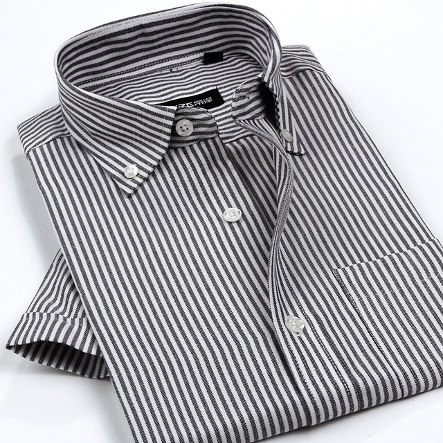 11146a352377 New Arrival Men's Classic Style Non-Iron Oxford Shirts Plaid/Striped Short  Sleeve Casual Shirt High Quality Brand Clothing