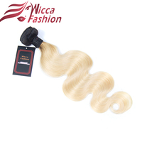 Wicca Fashion Non Remy 1B 613 Ombre Brazilian Hair Weave Bundles Body Wave 2 Tone Black