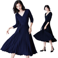 Knitted Cashmere Dress Women Pleated Winter Sweater Dresses Cross Warm Wool Maxi Party Knitted Dress Long Pink Blue Vestidos New