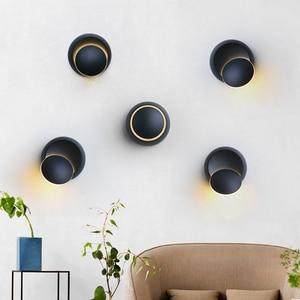 Image 5 - QLTEG 5W LED Wall Lamp 360 degree rotation adjustable bedside light 4000K Black creative wall lamp Black modern aisle round lamp