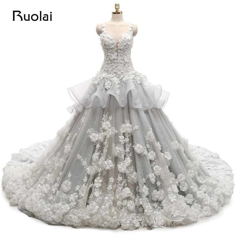 Real Photo Organza Tulle Wedding Dresses Long Applqiues Flowers Beaded For Bridal Wedding Ball Gown Vestido de novia ASAFN33