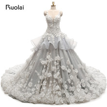 Real Photo Organza Tulle Wedding Dresses Long Applqiues Flowers Beaded For Bridal Wedding Ball Gown Vestido de novia ASAFN33