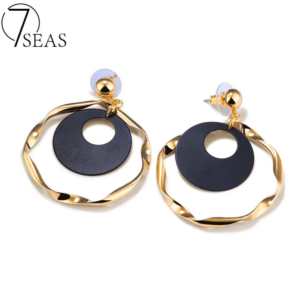 7seas Latest Chic Symmetrial Hoop Earrings Copper Strand Round With Plastic  Sheet Double Circle Earring Woman