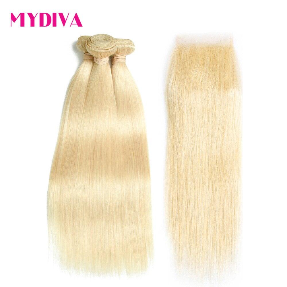 613 блондинка человеческих волос 3 Связки с закрытием Малайзии прямые волосы ткань Волосы remy расширение 10-24 дюймов Бесплатная доставка Mydiva
