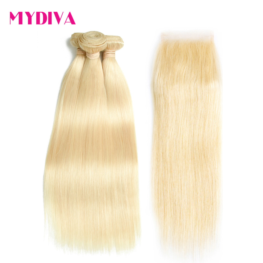 613 Blonde Human Hair 3 Bundles With Closure Malaysian Straight Hair Weave Remy Hair Extension 10-24inch Free Ship Mydiva